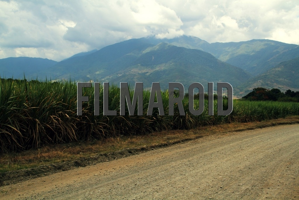 Mountains and large clouds framed by vast meadows plantations and a dirt road in Valle del Cauca Region Colombia