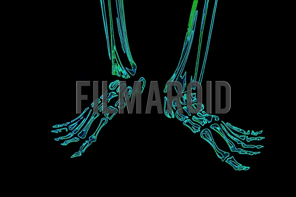 A pair of human feet bones with a colorful neon effect and details against a pitch black background