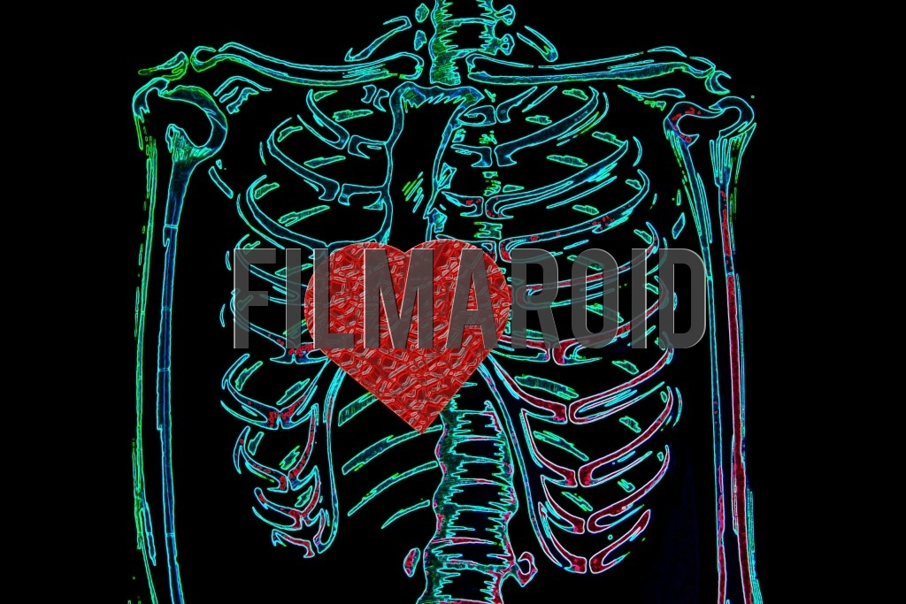 Closeup of a human rib cage with a heart in the middle and a colorful neon effect against a pitch black background