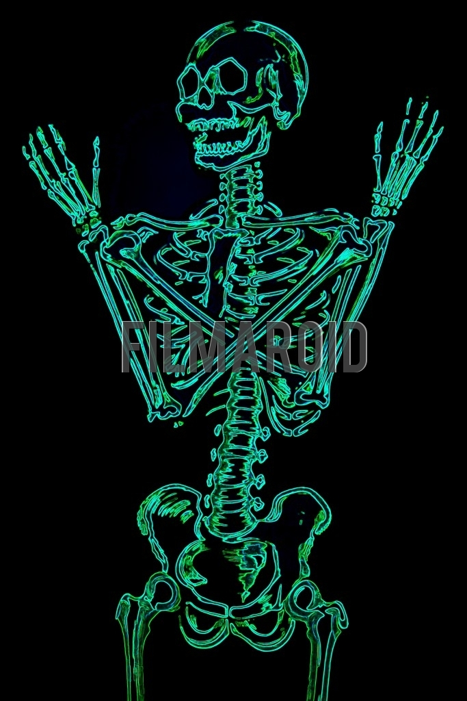 Top body view or american shot of a human skeleton with arms crossed and a colorful neon effect against a pitch black background