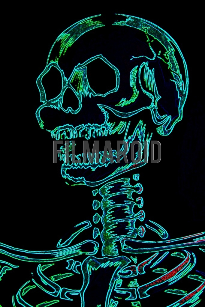 Closeup of a human skull neck and rib cage with a neon effect against a pitch black background
