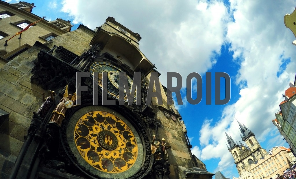 The Astronomical Clock and the Church of Our Lady before Tyn in Old Town Square Prague