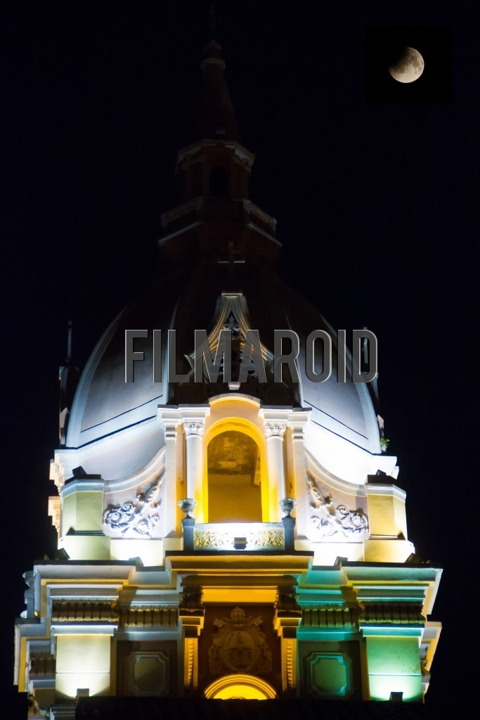 Night view of the bell tower of the Metropolitan Cathedral Basilica of St Catherine of Alexandria in Cartagena Colombia