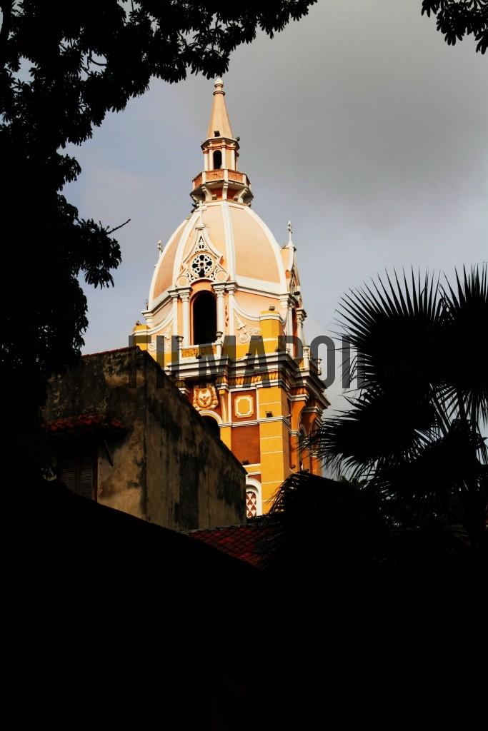 View of the Cathedral of Santa Catalina de Alejandria in Cartagena Colombia