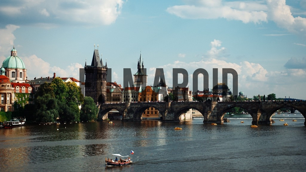 The Charles Bridge seen from a distance on the riverside
