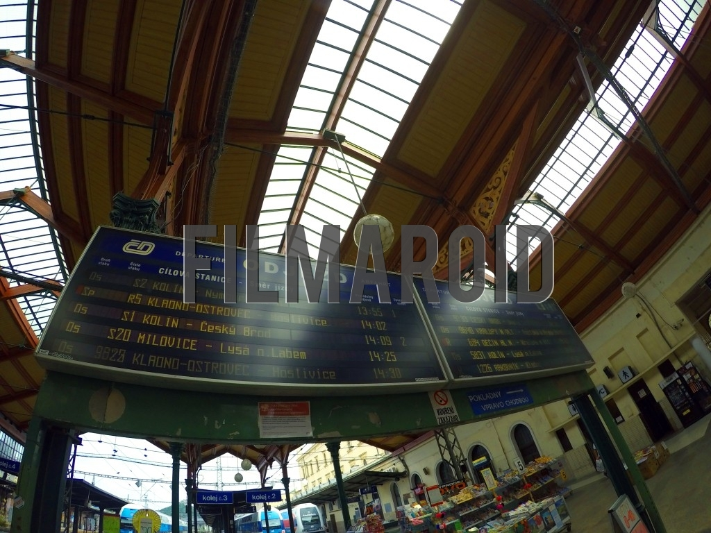 Interior of European Train Station Masarykovo nádraží in Prague showing the departure of trains