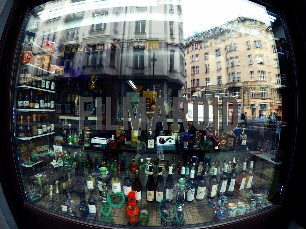 Display window of a Souvenir and Gift Shop in the center of Prague