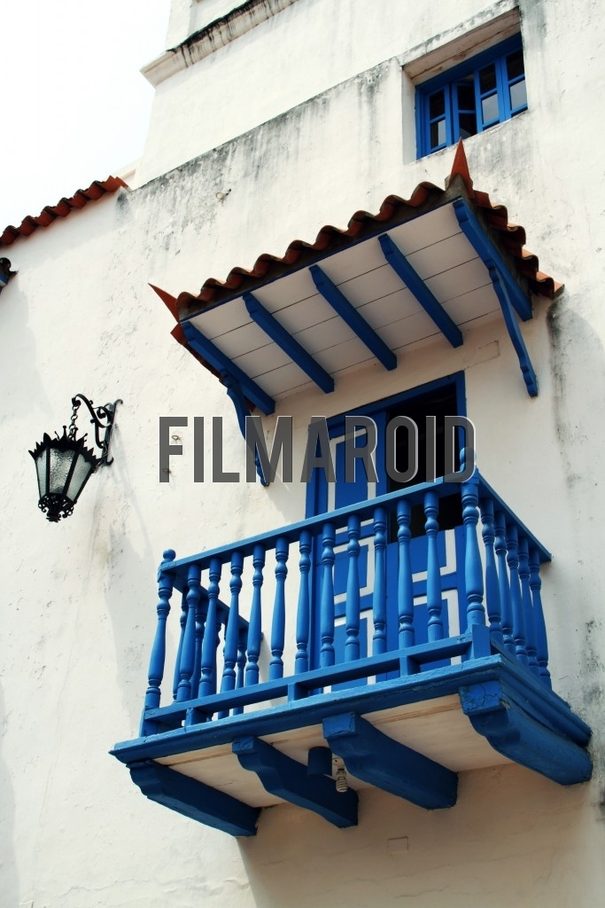 One of the many colorful and highly detailed colonial balconies present in old town Cartagena Colombia