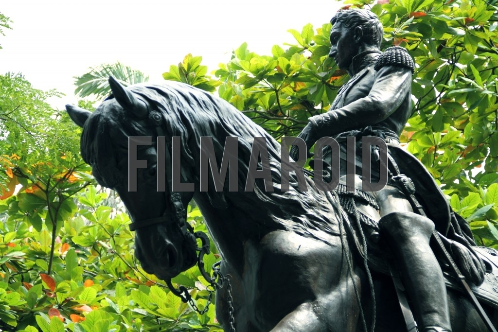 The statue of historical hero Simon Bolivar found at Plaza Bolivar in Cartagena Colombia