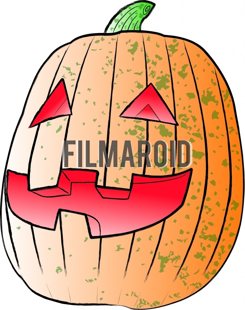 Beautiful Halloween pumpkin with traditional carving of a smiley face vector illustration against rough texture in a pop art or grunge style