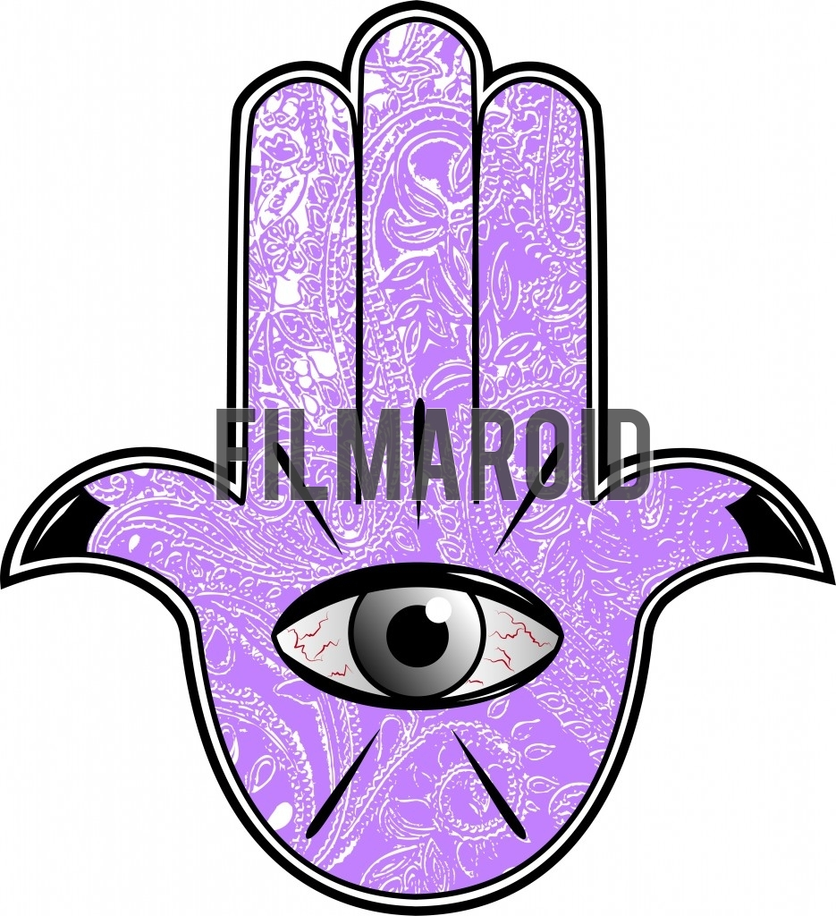 Beautiful egyptian or mesopotamian hamsa hand with eye in shock and veins against indian mandala texture