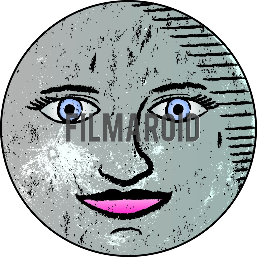 Beautiful antique or vintage blue moon with face vector illustration resembling old nautical map drawings and sketches