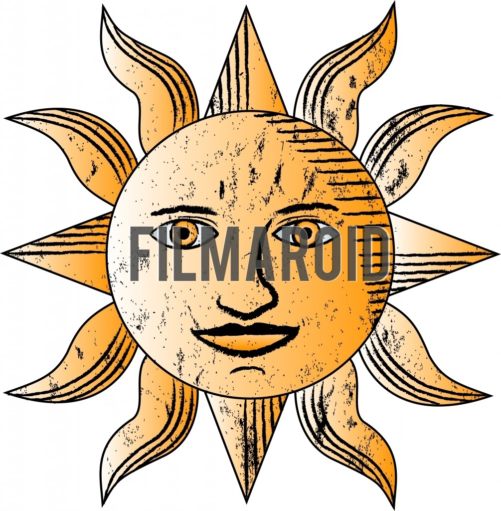 Beautiful antique or vintage golden sun with face vector illustration resembling old nautical map drawings and sketches