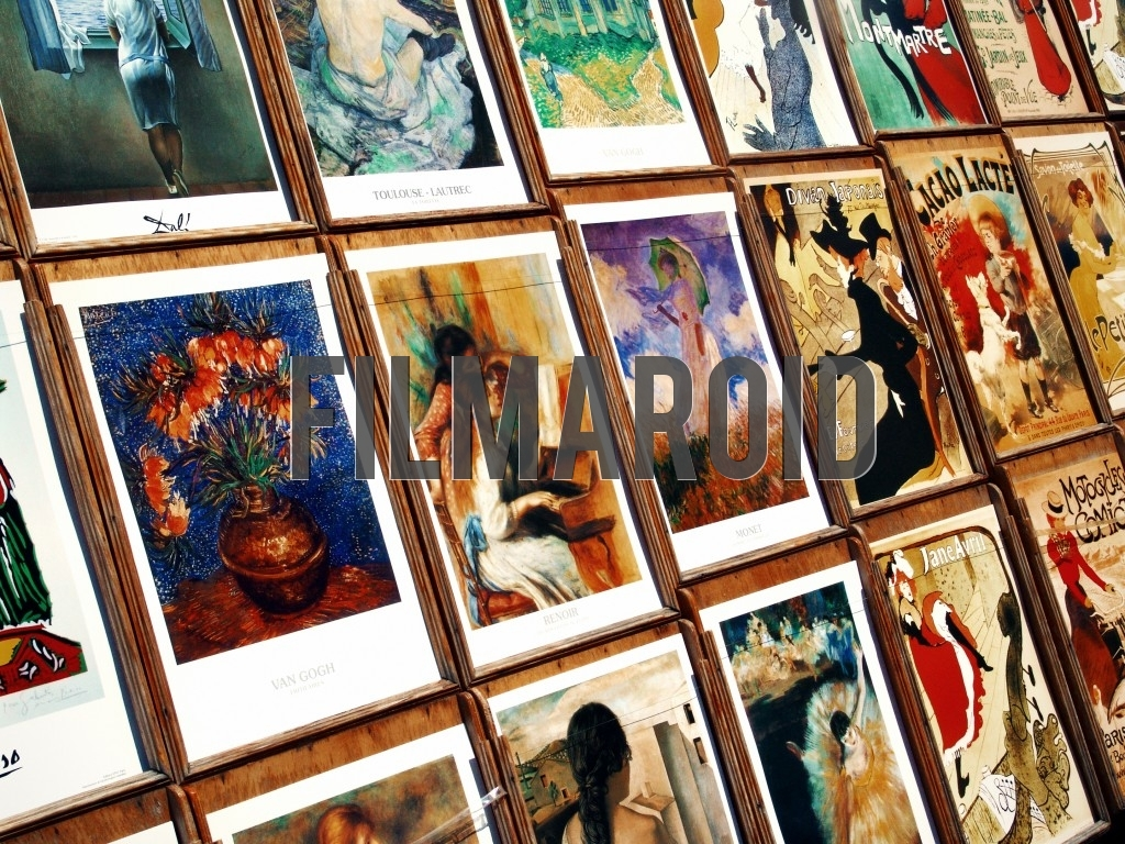 A detail view of different art souvenirs sold in a shop in the Montmarte neighborhood located in Paris France