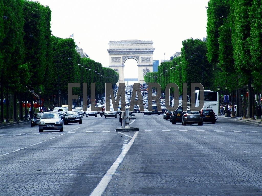 A frontal view of Les Champs-Élysées avenue in Paris France with the Arc de Triomphe on the background