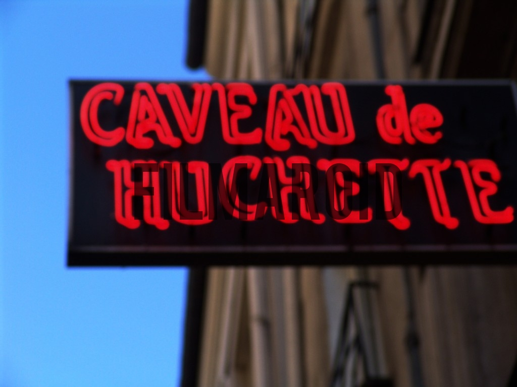 Detail shot of the neon sign of this mythic Jazz club in Paris