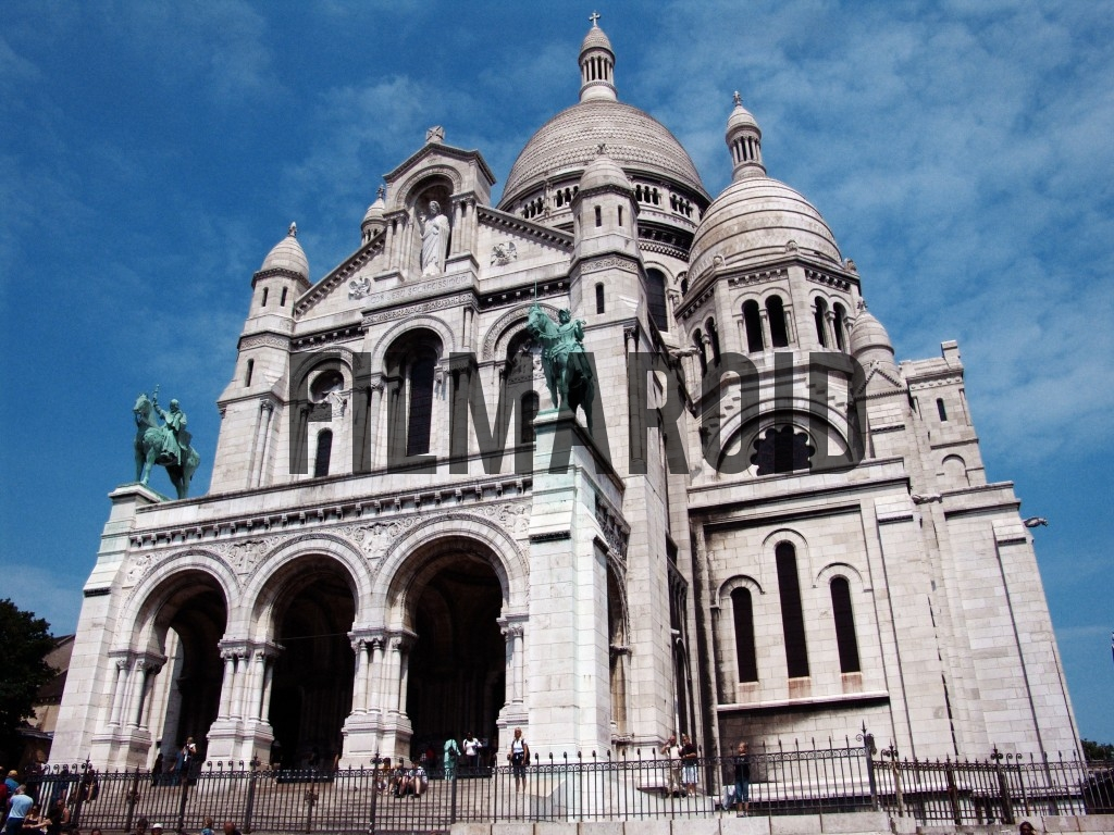 Lateral view of the Basilica in Montmartre District