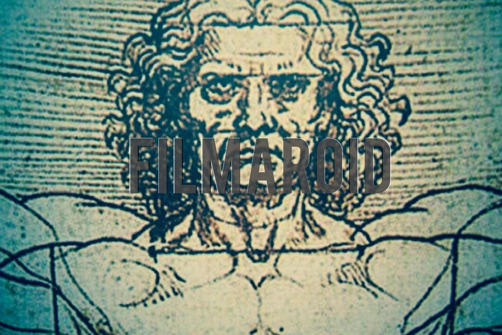 Medium closeup of the Vitruvian Man drawing by artist Leonardo da Vinci